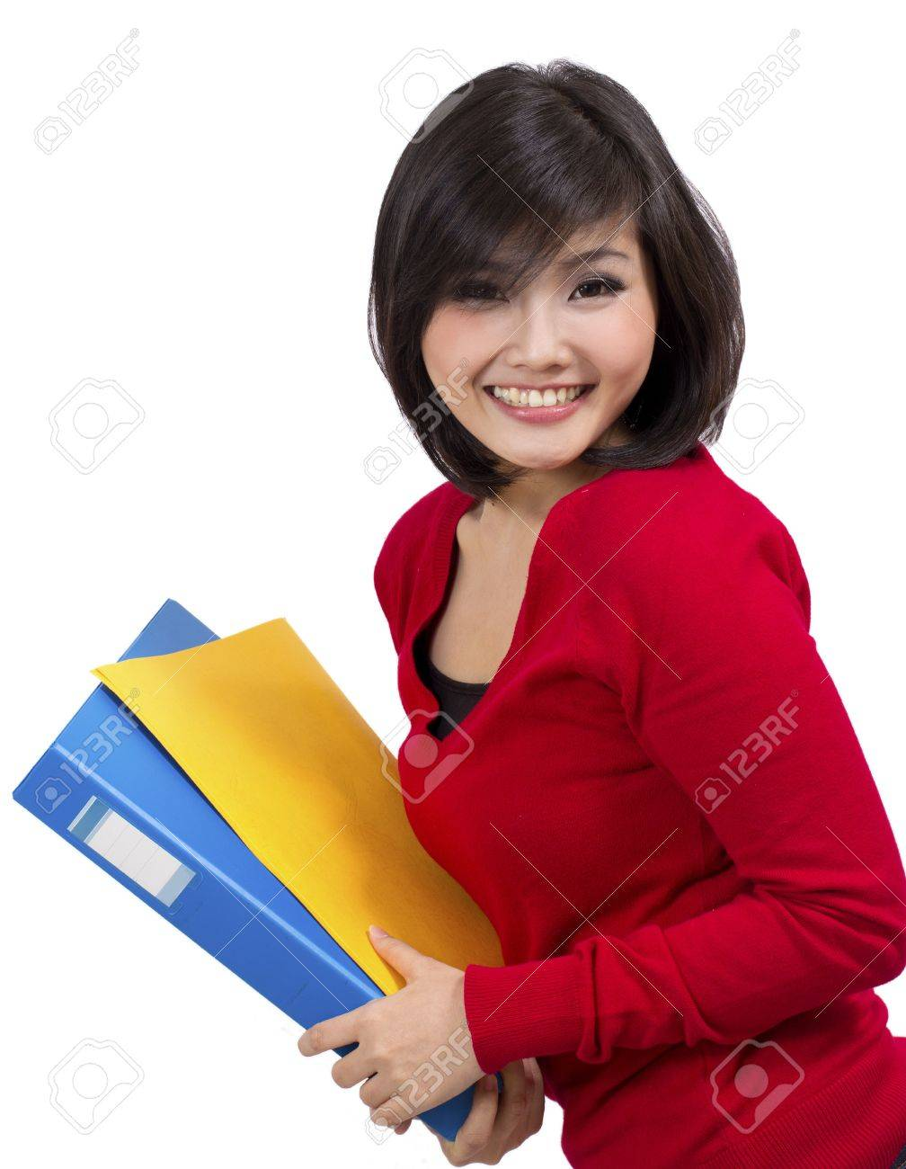 pretty young female holding folder Stock Photo - 12731965