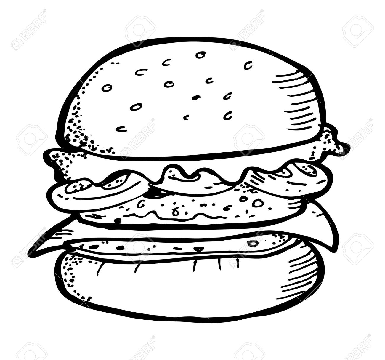 burger doodle clipart Hamburger Patty Clipart Black And White