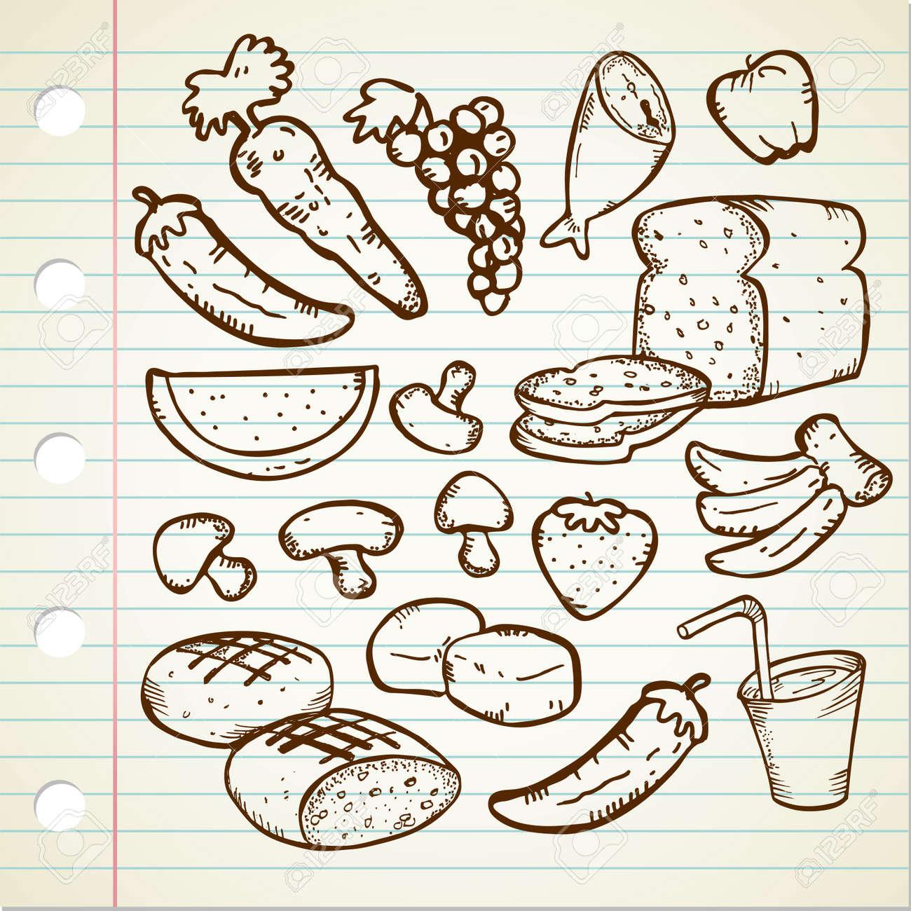 healthy food doodle Stock Vector - 13120545