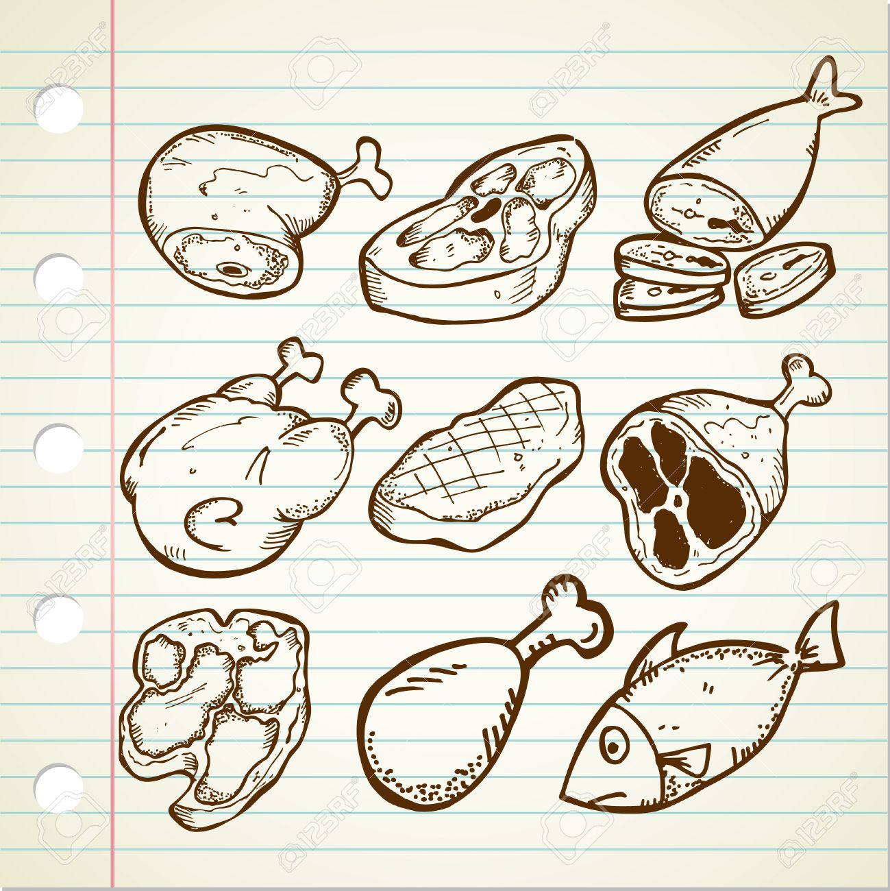 set of meat doodle Stock Vector - 13138020