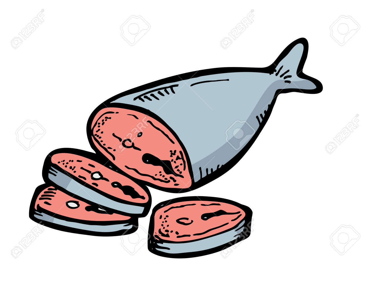 Raw Steak Drawing Vector Raw Fish Hand Drawn