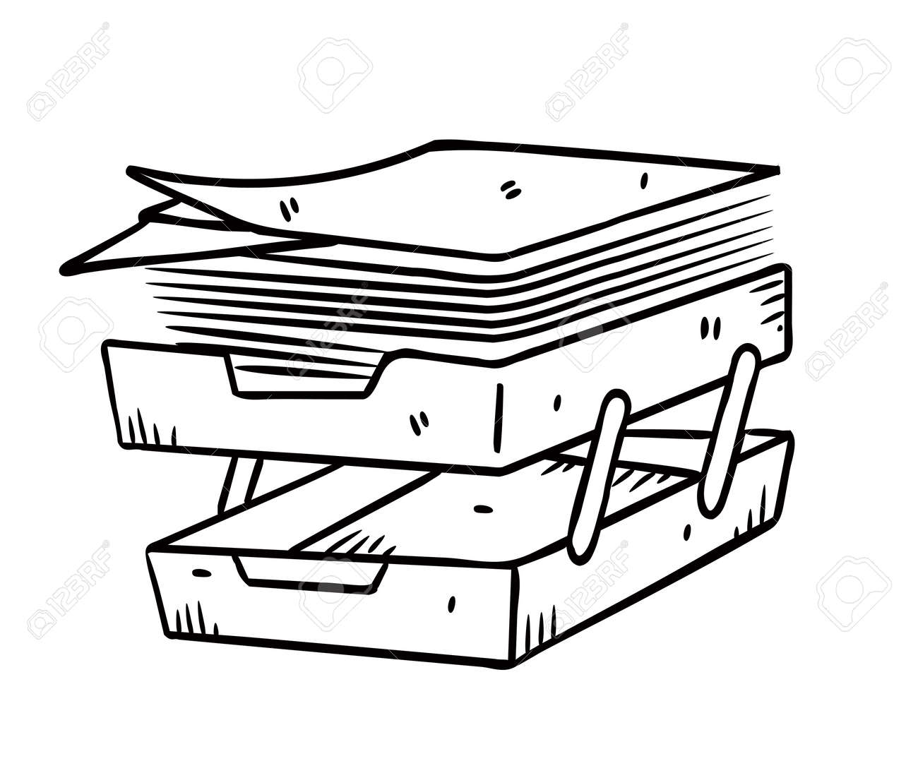 paper tray in doodle style - 13586895