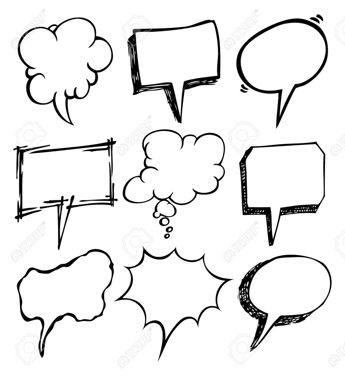 set of bubble speec doodle Stock Vector - 14100714