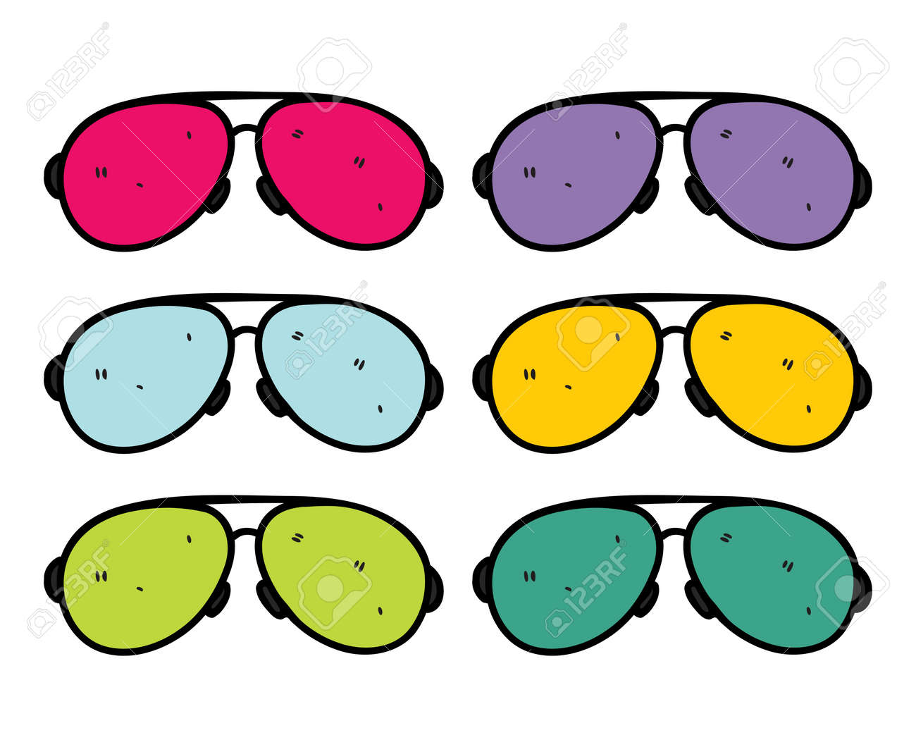 retro sunglasses in doodle stye Stock Vector - 14336166