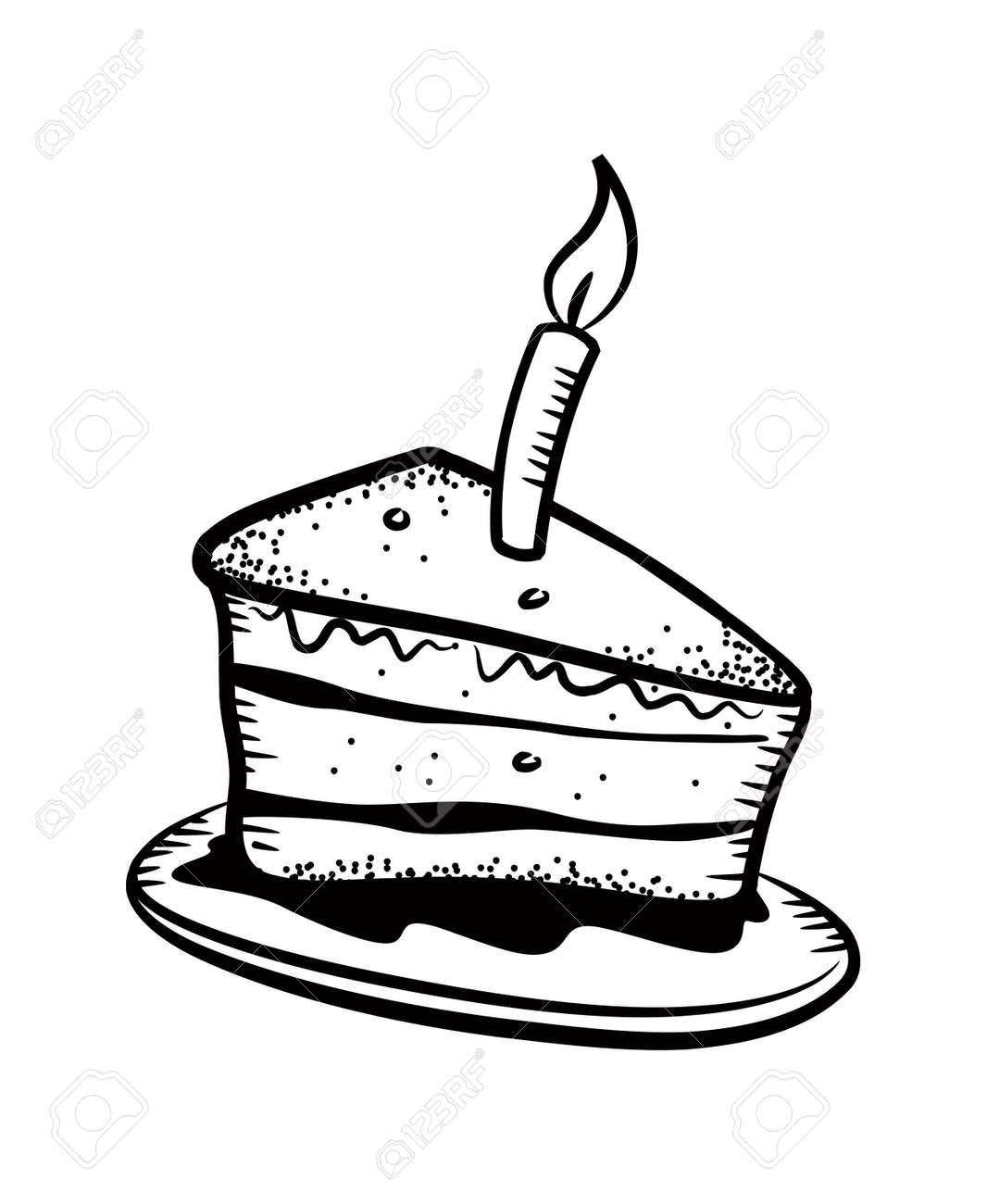 Cake Slice With Candle Stock Vector