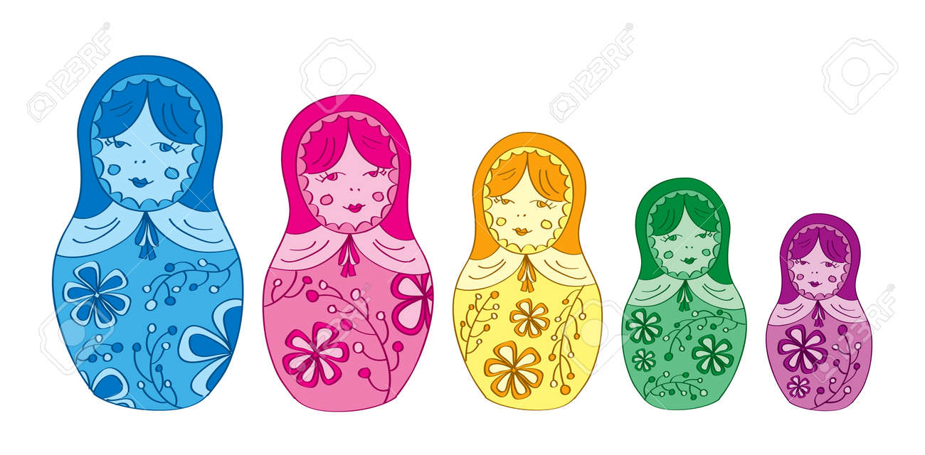 Russian matryoshka doll with floral pattern Stock Vector - 14957143