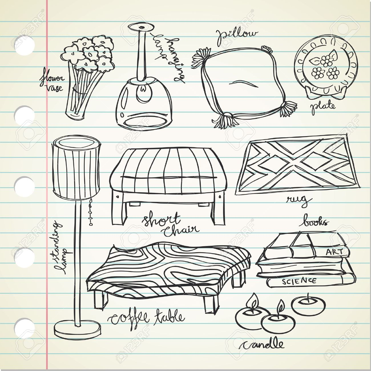 Set Of Living Room Stuff Stock Vector 15058768