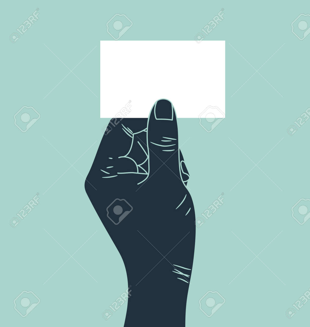 Hand showing blank ID card Stock Vector - 15058765