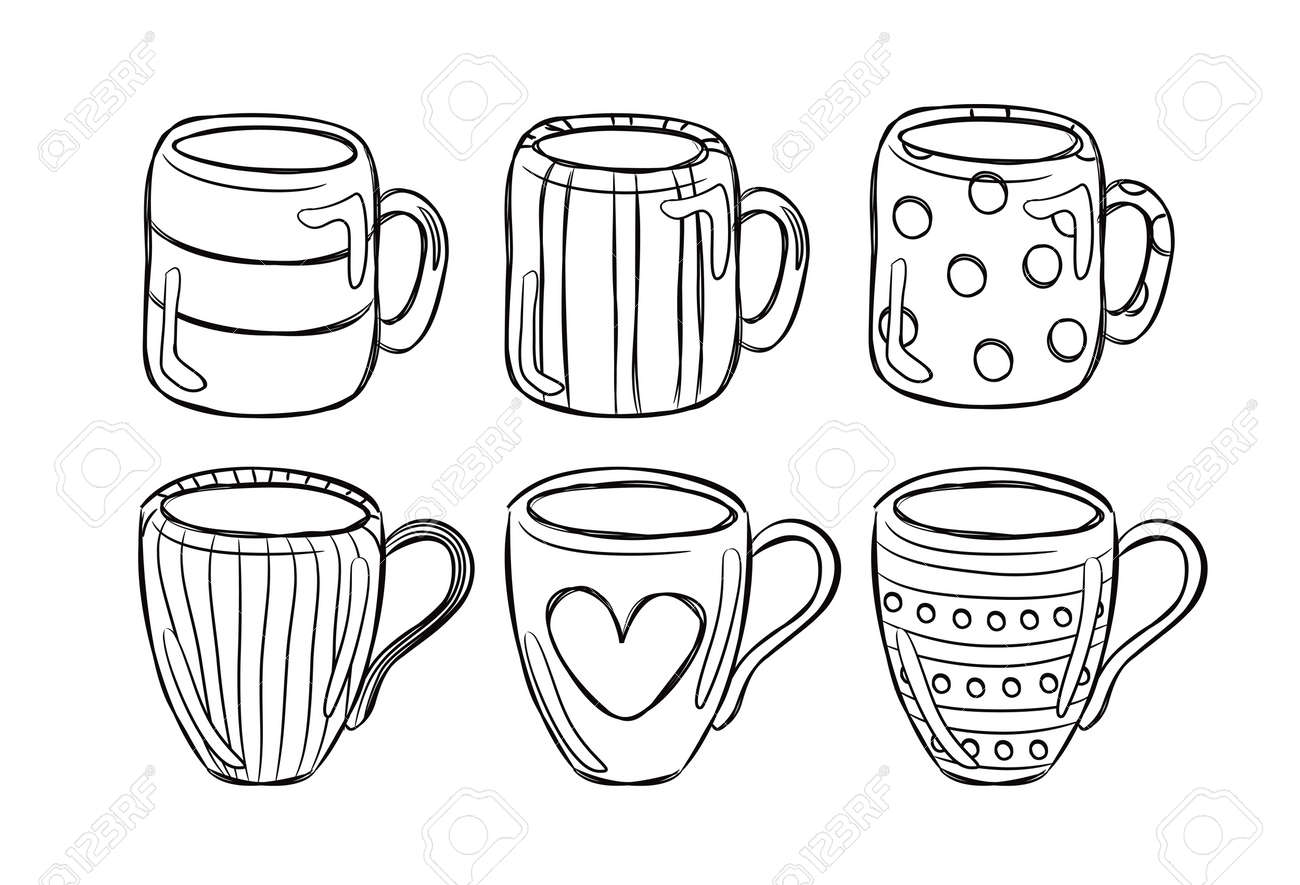 Coffee cup sketch - Set Of Mug In Doodle Style Stock Vector 15058782