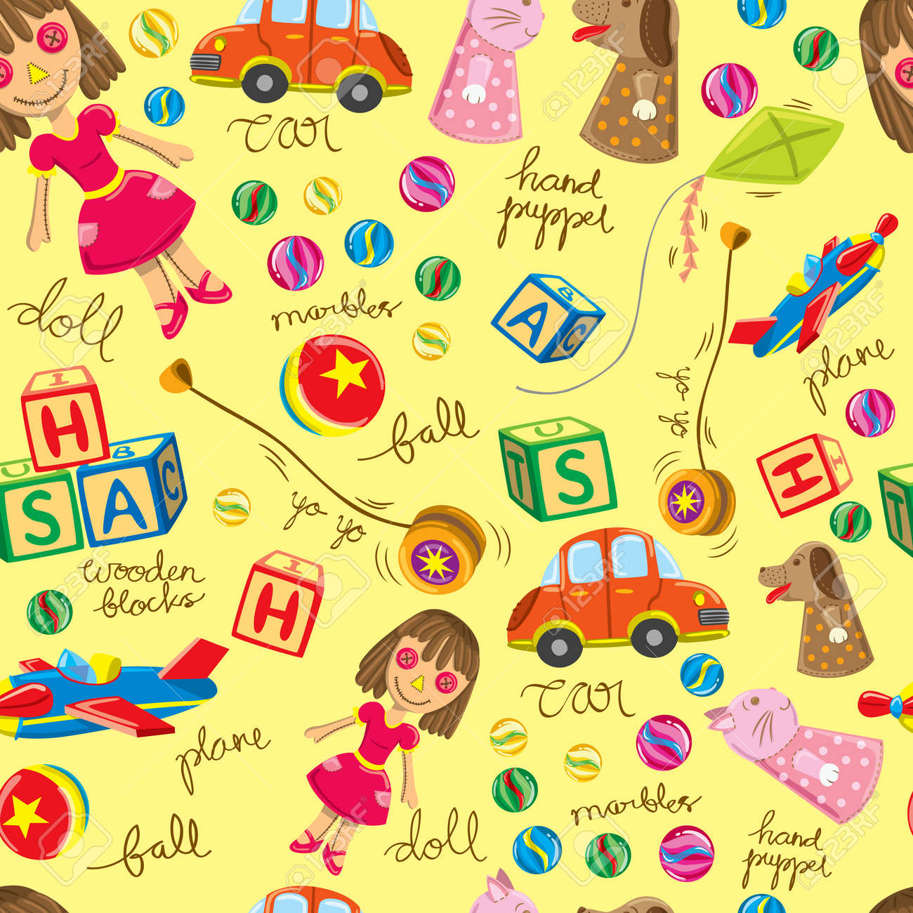 cute vintage toys background, suitable for wrapping paper Stock Vector - 15283675