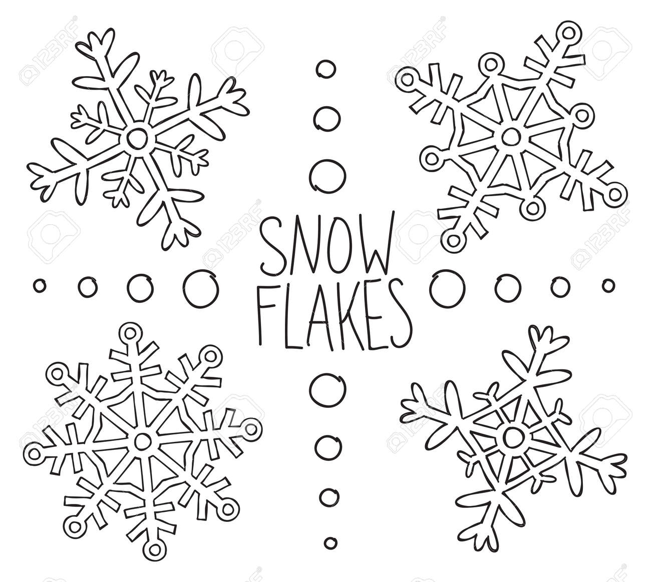 Snowflakes Doodle Stock Vector - Image: 44056451