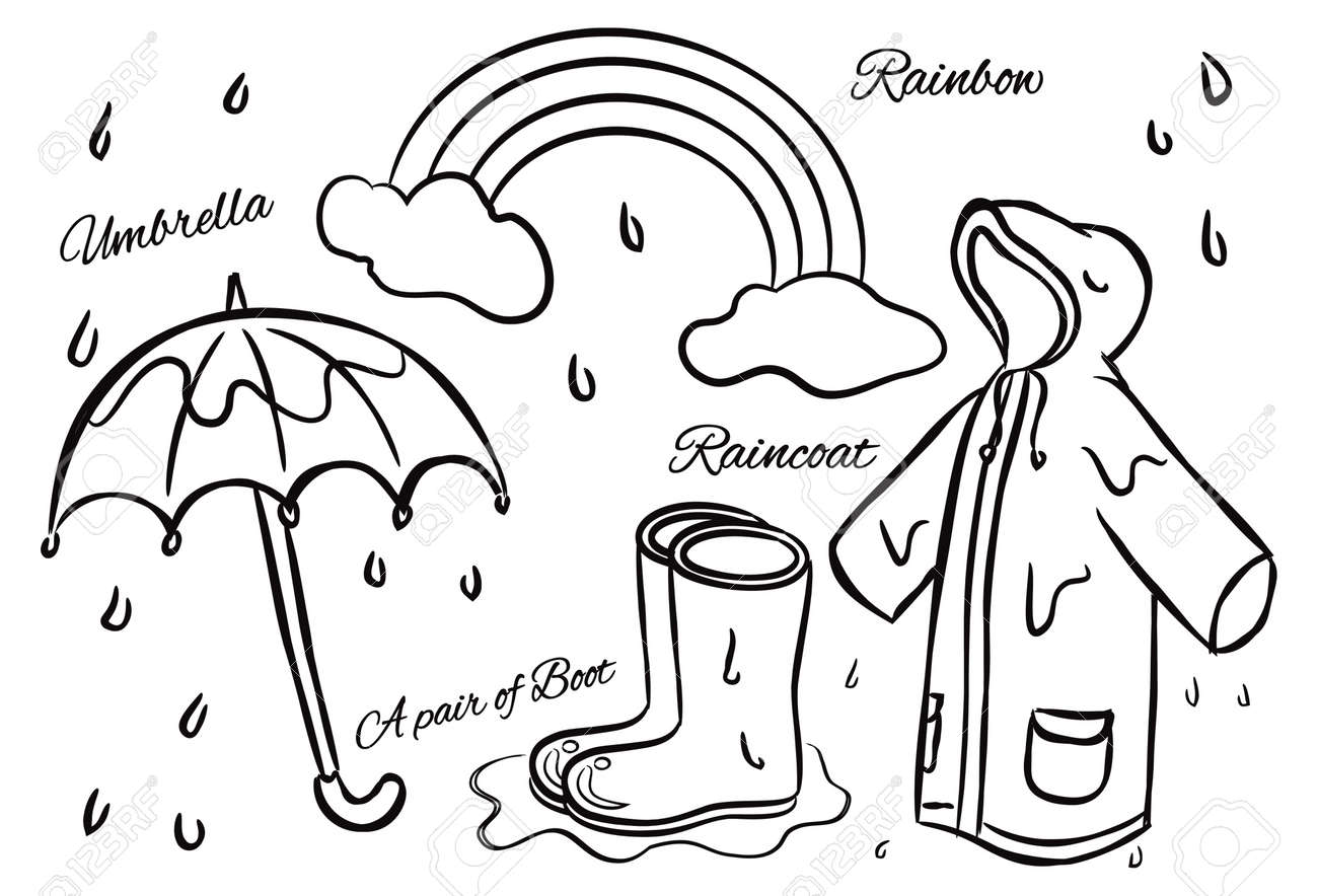 670 rain coat and umbrella cliparts stock vector and royalty free