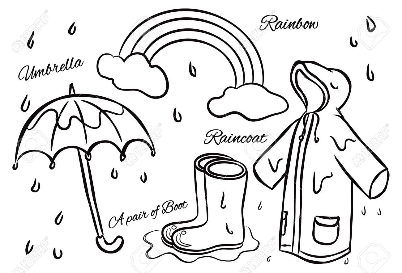 Rainbow and rain coloring pages - Rainbow Rain Rainy Season