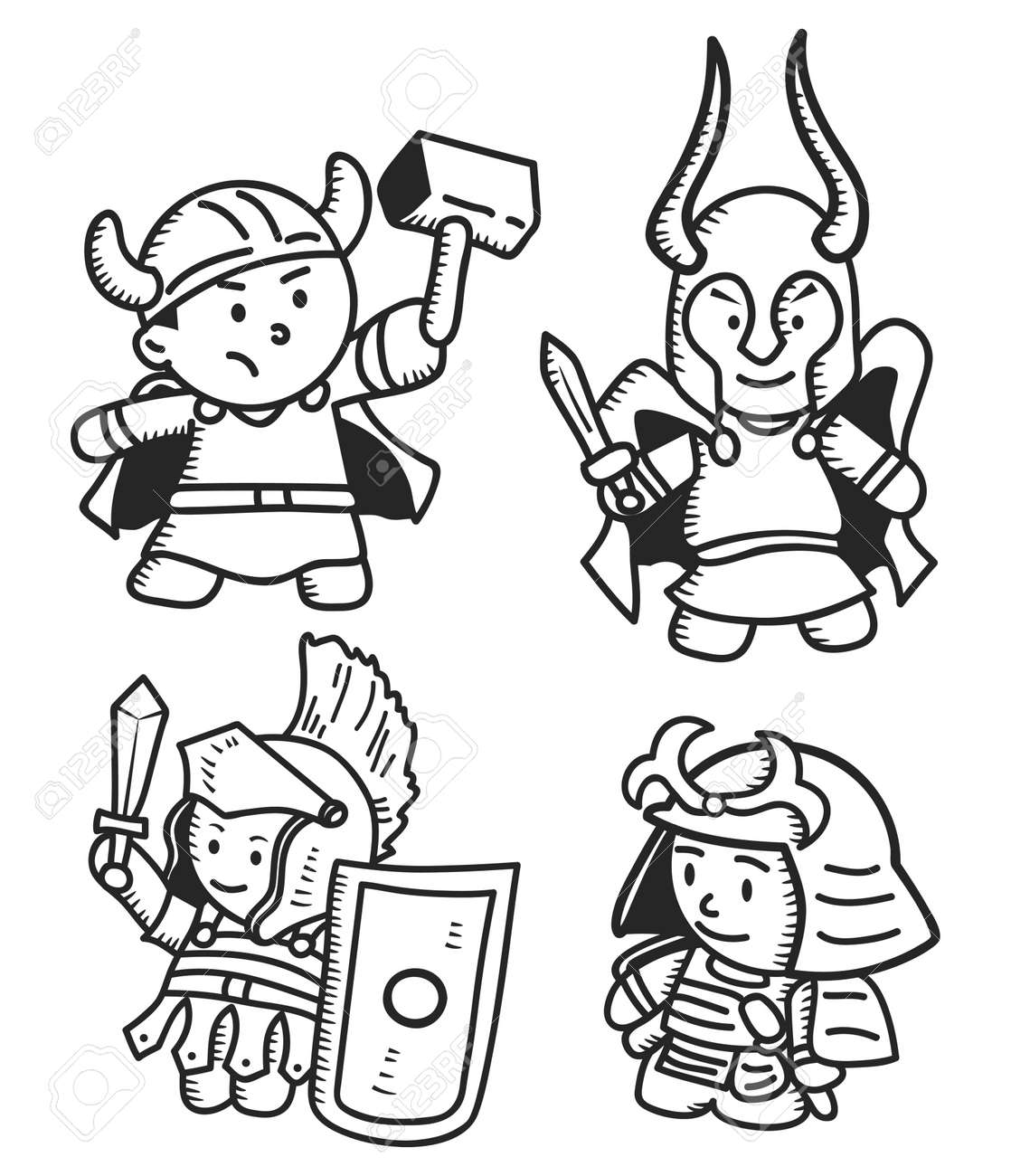 warrior doodle royalty free cliparts vectors and stock