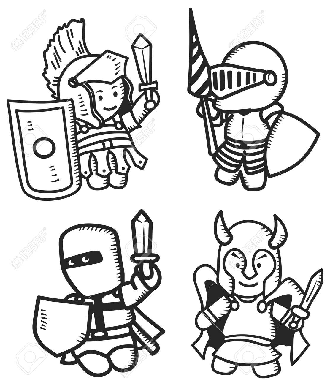 set of ancient warrior royalty free cliparts vectors and stock
