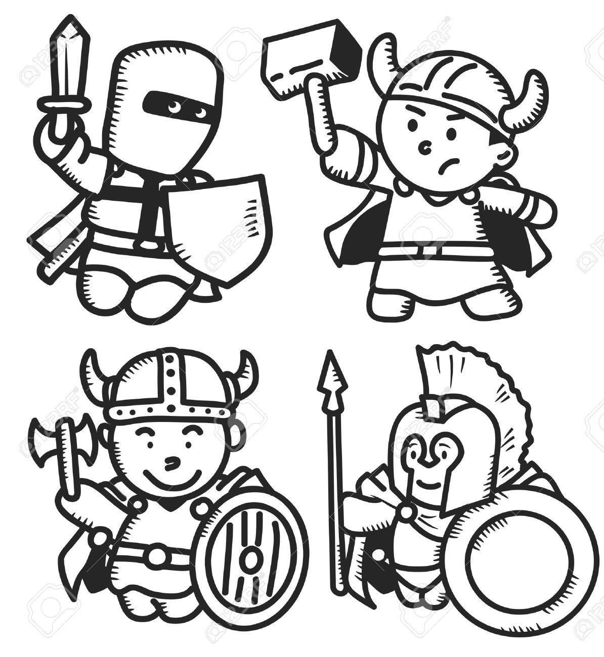 set of ancient warrior Stock Vector - 16821854