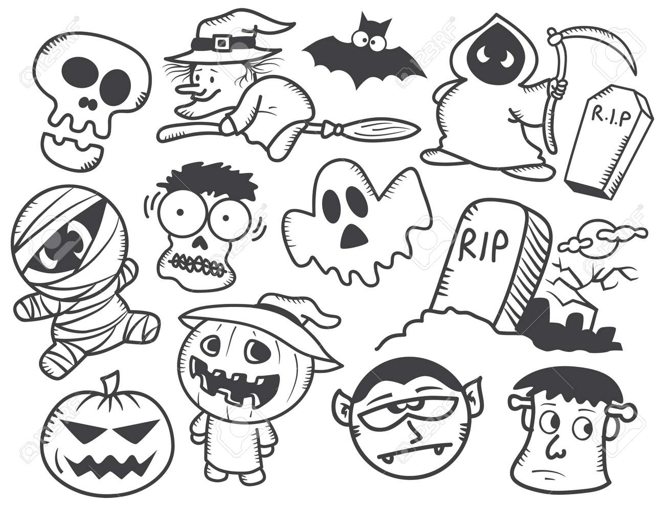 Halloween Doodle Royalty Free Cliparts, Vectors, And Stock ...