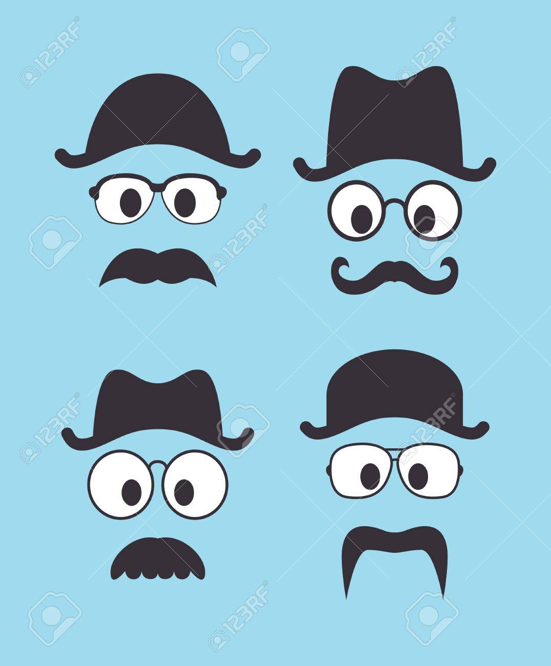 set of vintage hat sunglasses and mustache Stock Vector - 17246311