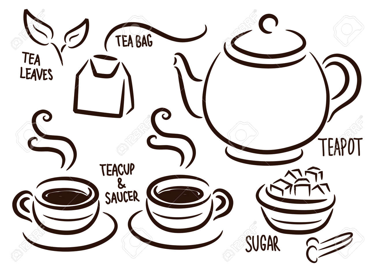 set of tea time icon in doodle style Stock Vector - 17252845