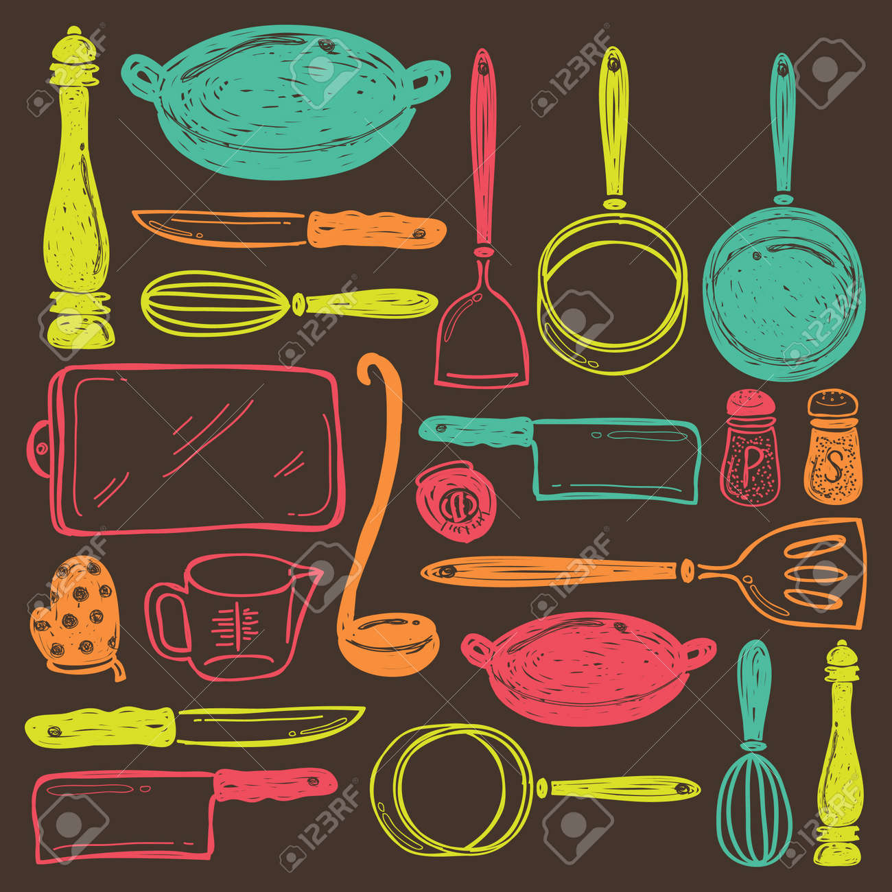 seamless cooking utensils - 17432732