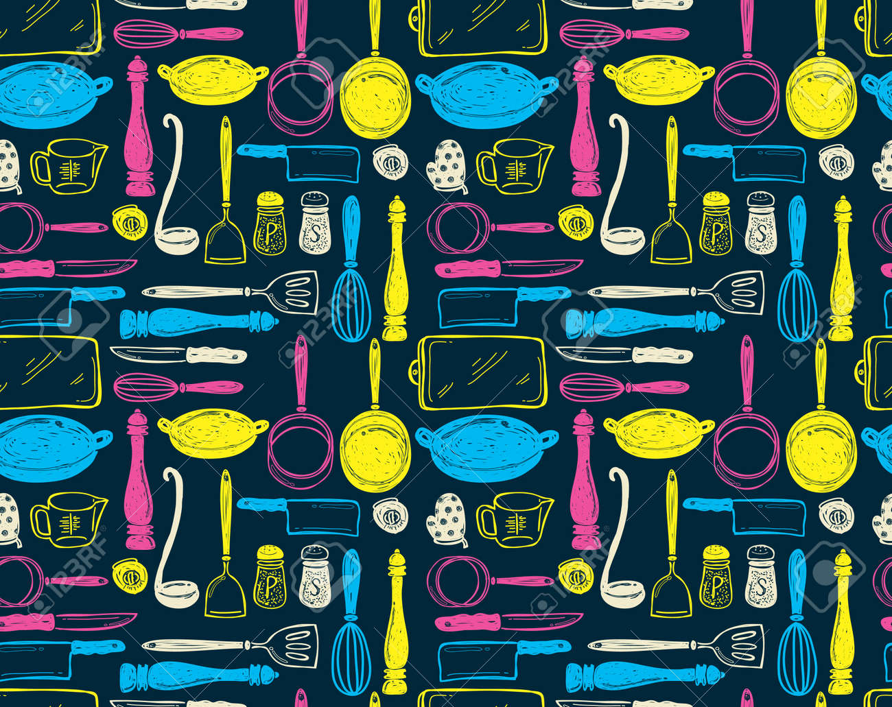 kitchen utensil seamless pattern Stock Vector - 18336389