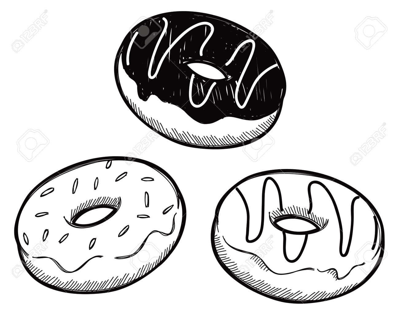 set of sough nut doodle royalty free cliparts vectors and stock rh 123rf com free donut clipart black and white