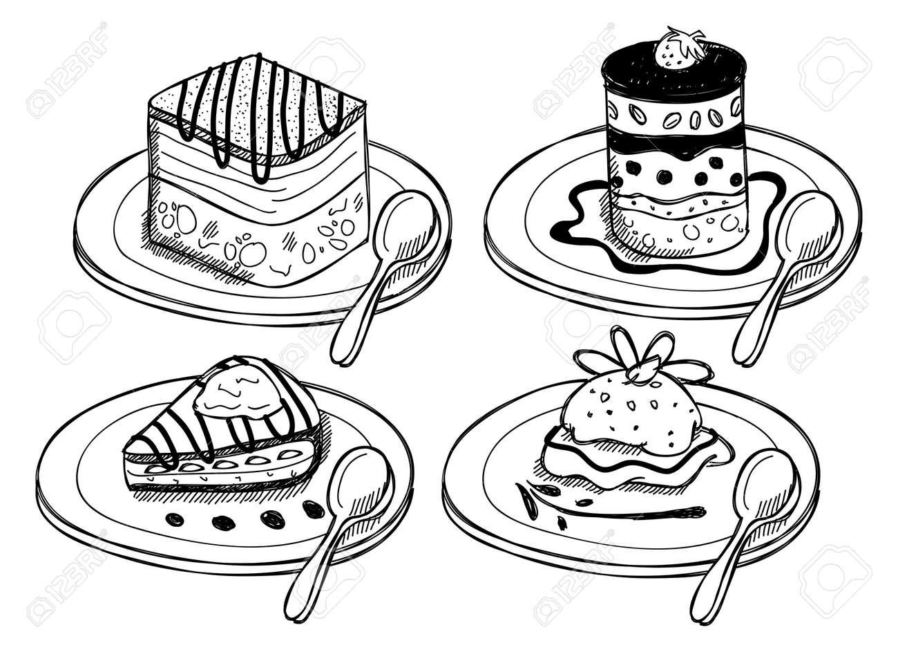 Set of dessert in doodle style Stock Vector - 19883011