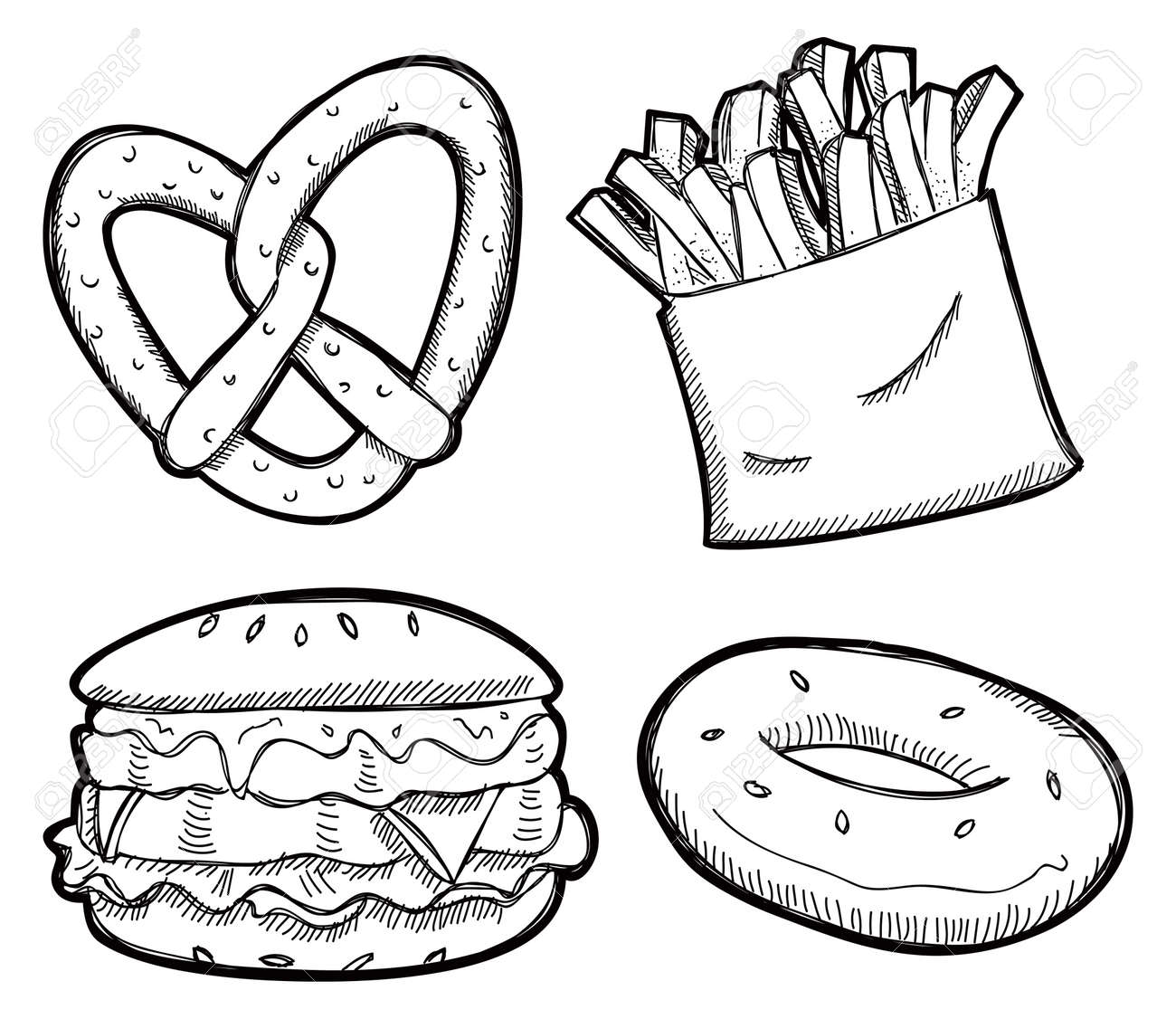 Set Of Snack Doodle Royalty Free Cliparts, Vectors, And Stock ...