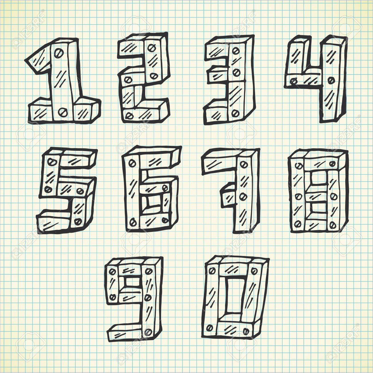 Cute Number Font In Doodle Style Stock Vector