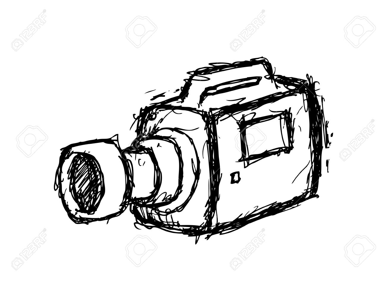 Hand Drawn Video Camera Royalty Free Cliparts, Vectors, And Stock ... for Camera Equipment Clipart  183qdu