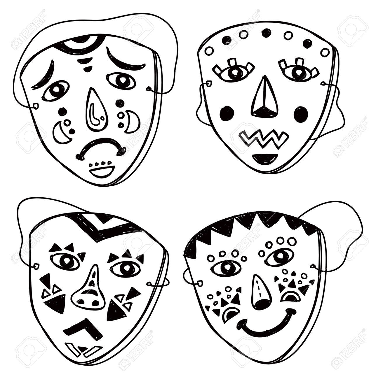 set of mask in various expression Stock Vector - 21394006