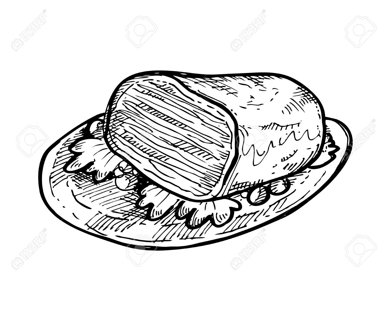 Sketchy Meat On A Plate Royalty Free Cliparts, Vectors, And Stock ... for Beef Clipart Black And White  34eri