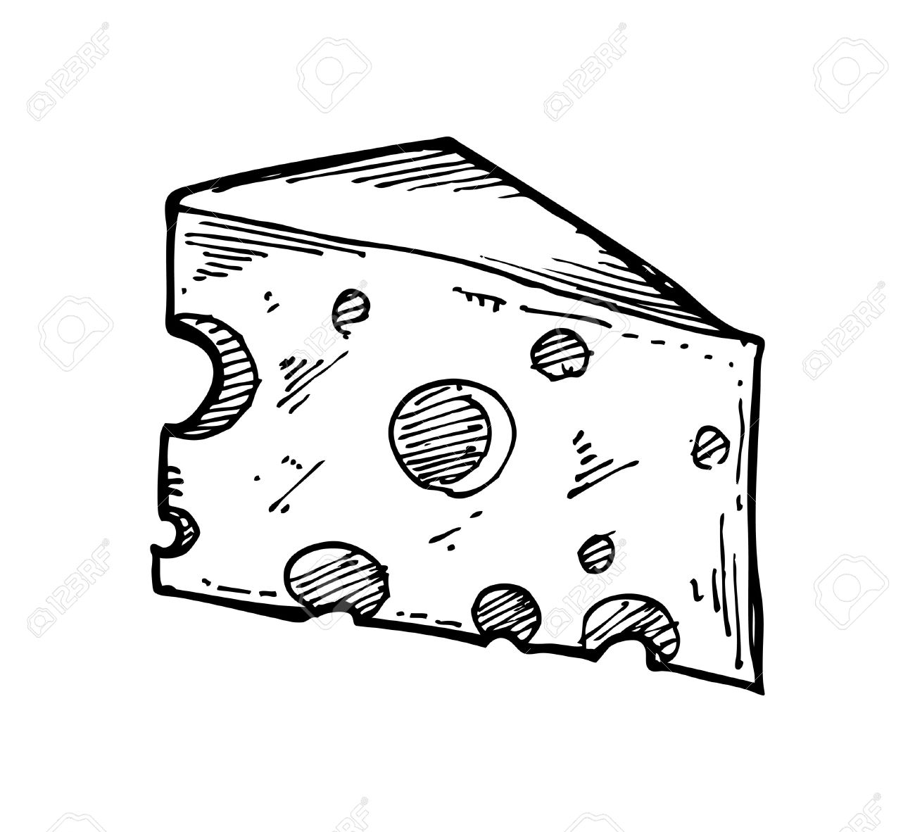 Käse clipart schwarz weiß  Skizzenhaften Käse Lizenzfrei Nutzbare Vektorgrafiken, Clip Arts ...