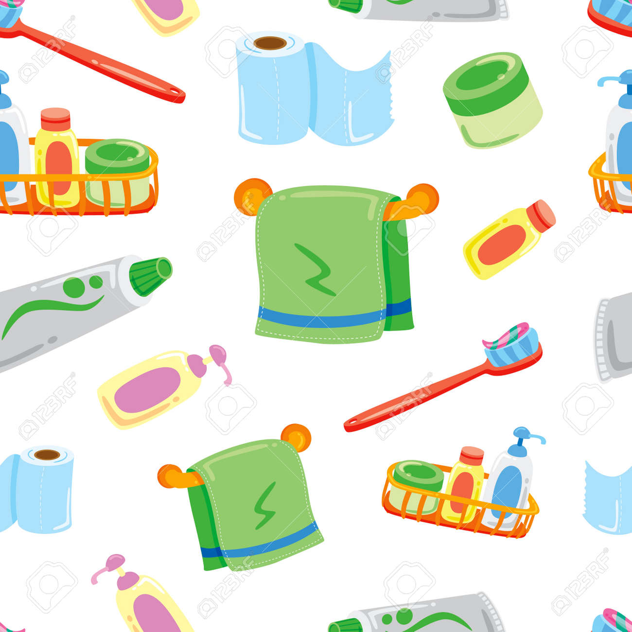 Cartoon Bathroom Stuff Background Stock Vector   24578583