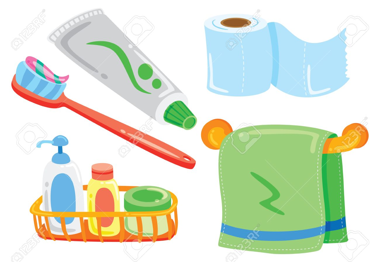 Awesome Cartoon Bathroom Stuff Stock Vector   24578586