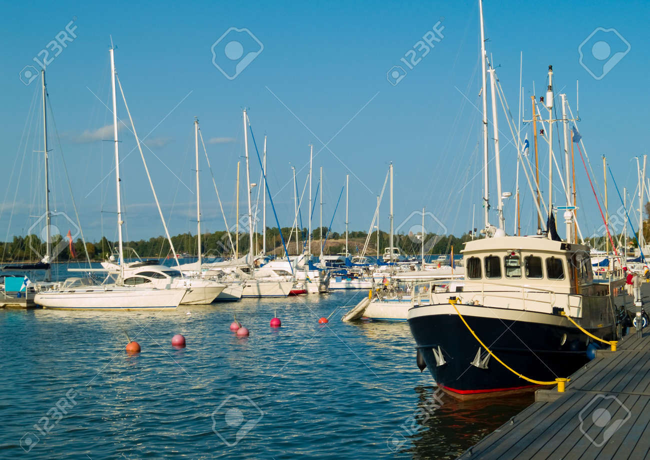 Boats in the Helsinki Harbour on a sunny summer day Stock Photo - 1355896