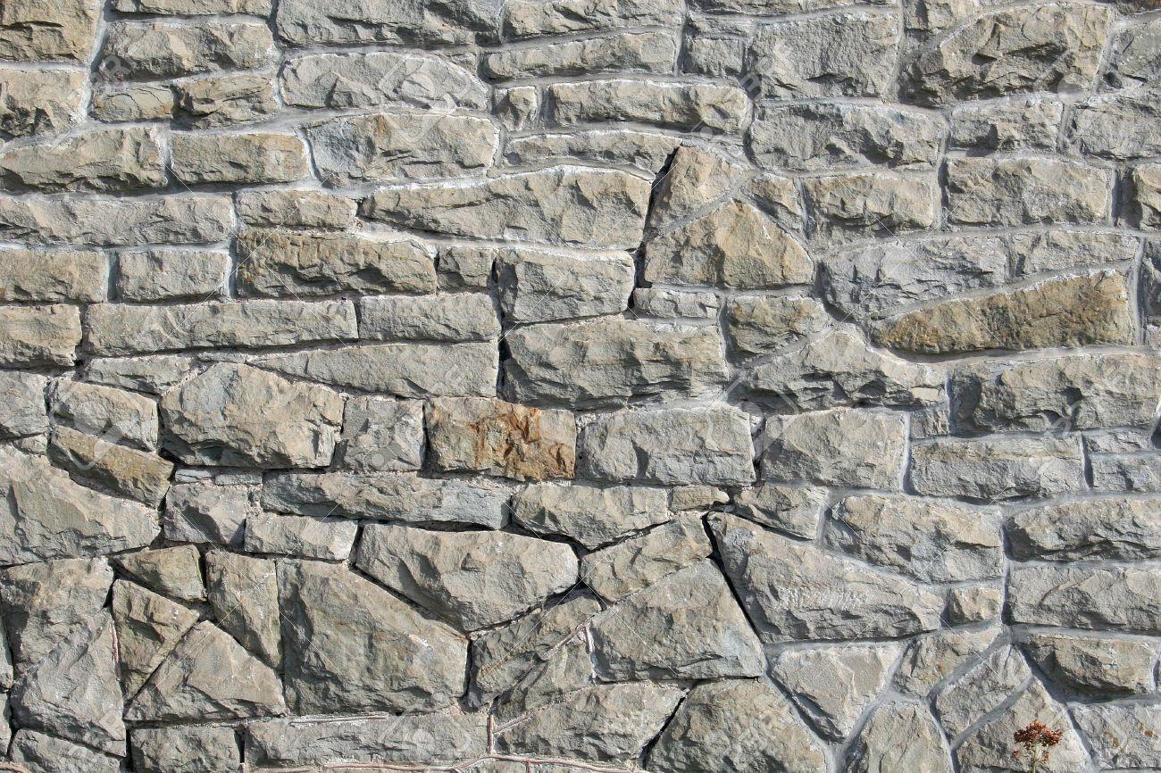 Zufällige Faustgroßen Stein Vermörtelt Zusammen, Um Eine Schöne Wand ...