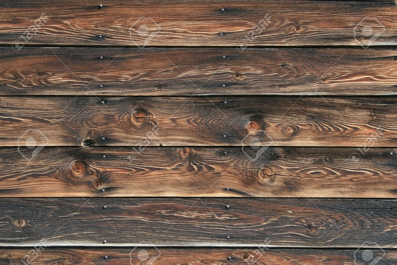 Picture Of Well Weathered, Vintage Wood Siding( 5 Boards) With A Few Nails