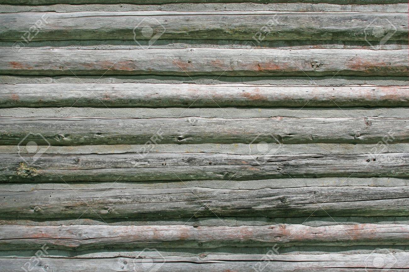 Horizontal log house wall, weathered and aged. Stock Photo - 13786852
