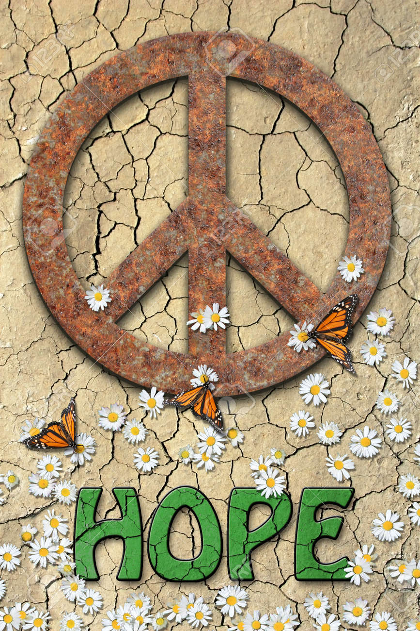 Rusted peace symbol daisys butterflys and the word hopegreen rusted peace symbol daisys butterflys and the word hopegreen colored in biocorpaavc Images