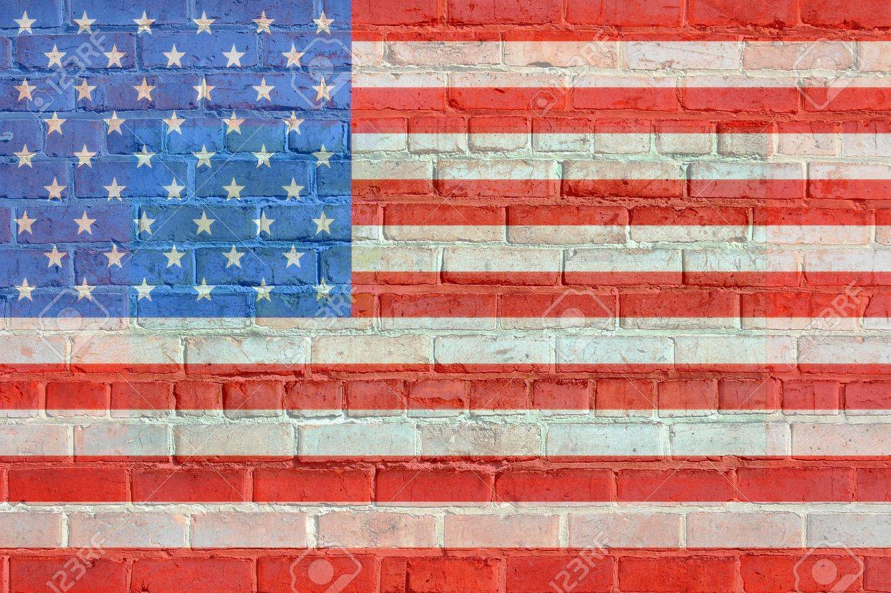 Painted on bricks american flag illustration, with an old retro look. Stock Illustration - 13829762