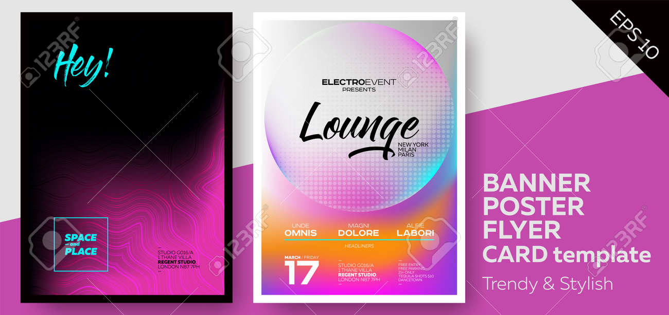 Music Covers For Summer Electronic Fest Or Club Party Flyer. Lounge,  Minimal, Techno