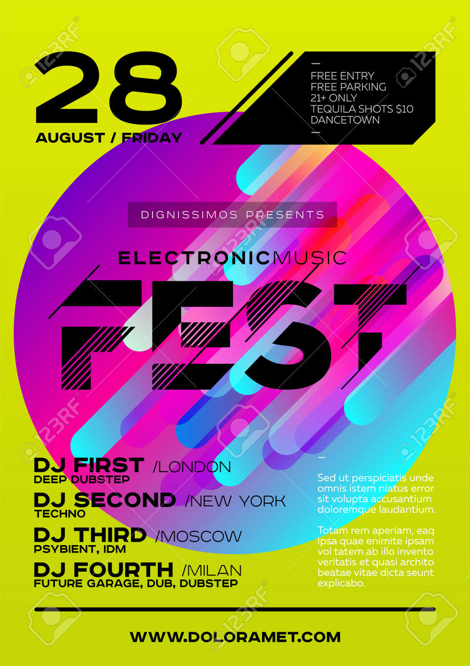 Bright DJ Poster For Summer Festival. Minimal Electronic Music Cover For  Fest. Colorful Green