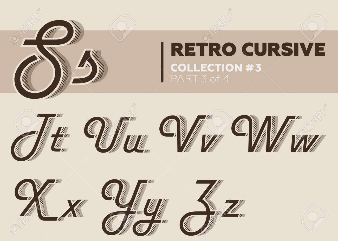 Retro Character Typeset  Vintage Layered Font with Striped Shadow