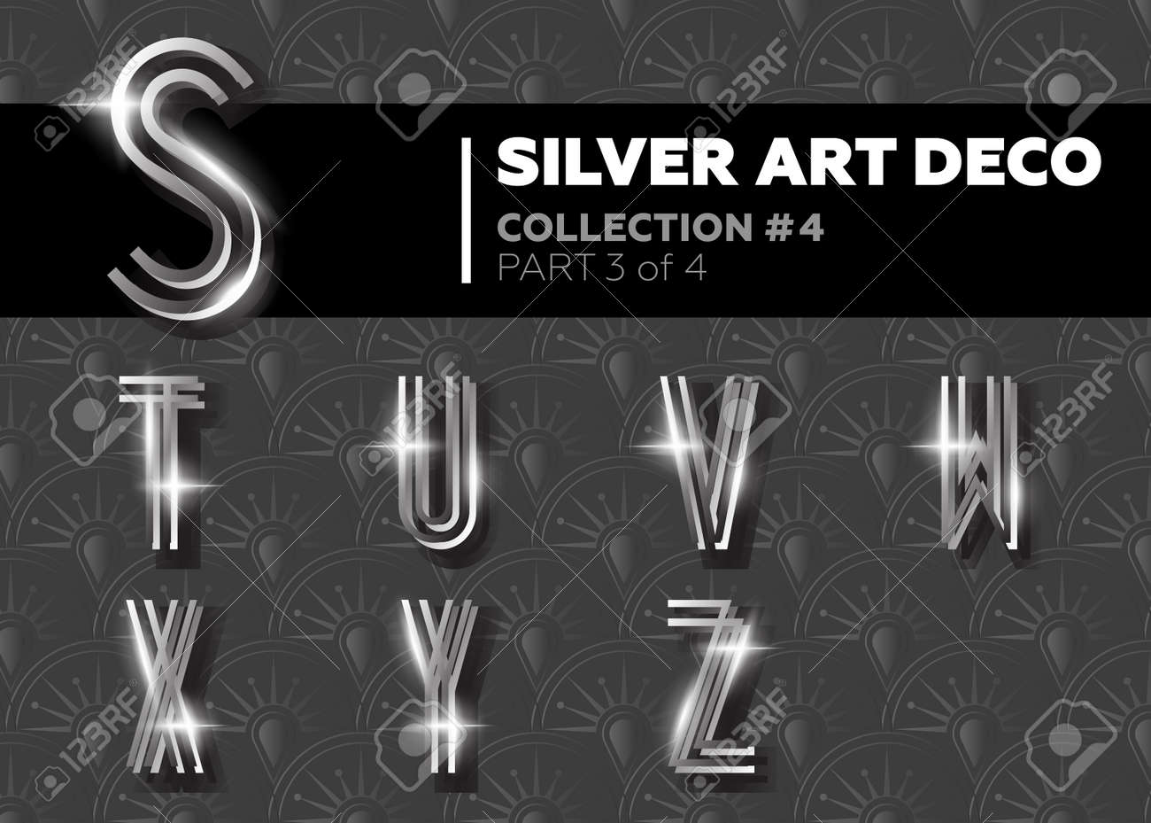 Vector art deco font shining silver retro alphabet gatsby style vector vector art deco font shining silver retro alphabet gatsby style metallic vintage letters for poster placard flyer party wedding invitation stopboris Image collections