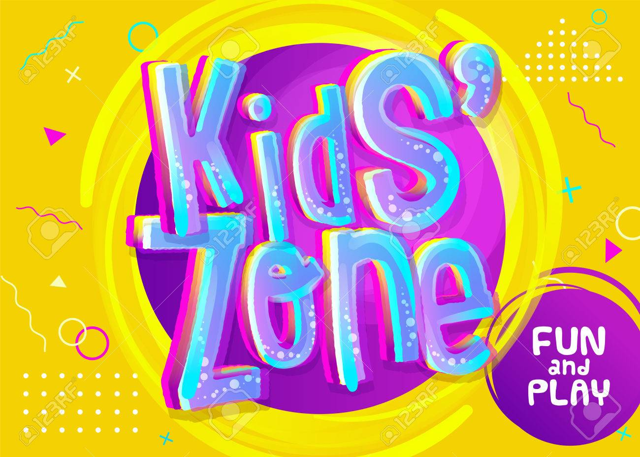 Kids Zone Vector Banner in Cartoon Style. Bright and Colorful Illustration for Children's Playroom Decoration. Funny Sign for Kids Game Room. Yellow Background with Childish Pattern. - 82758090