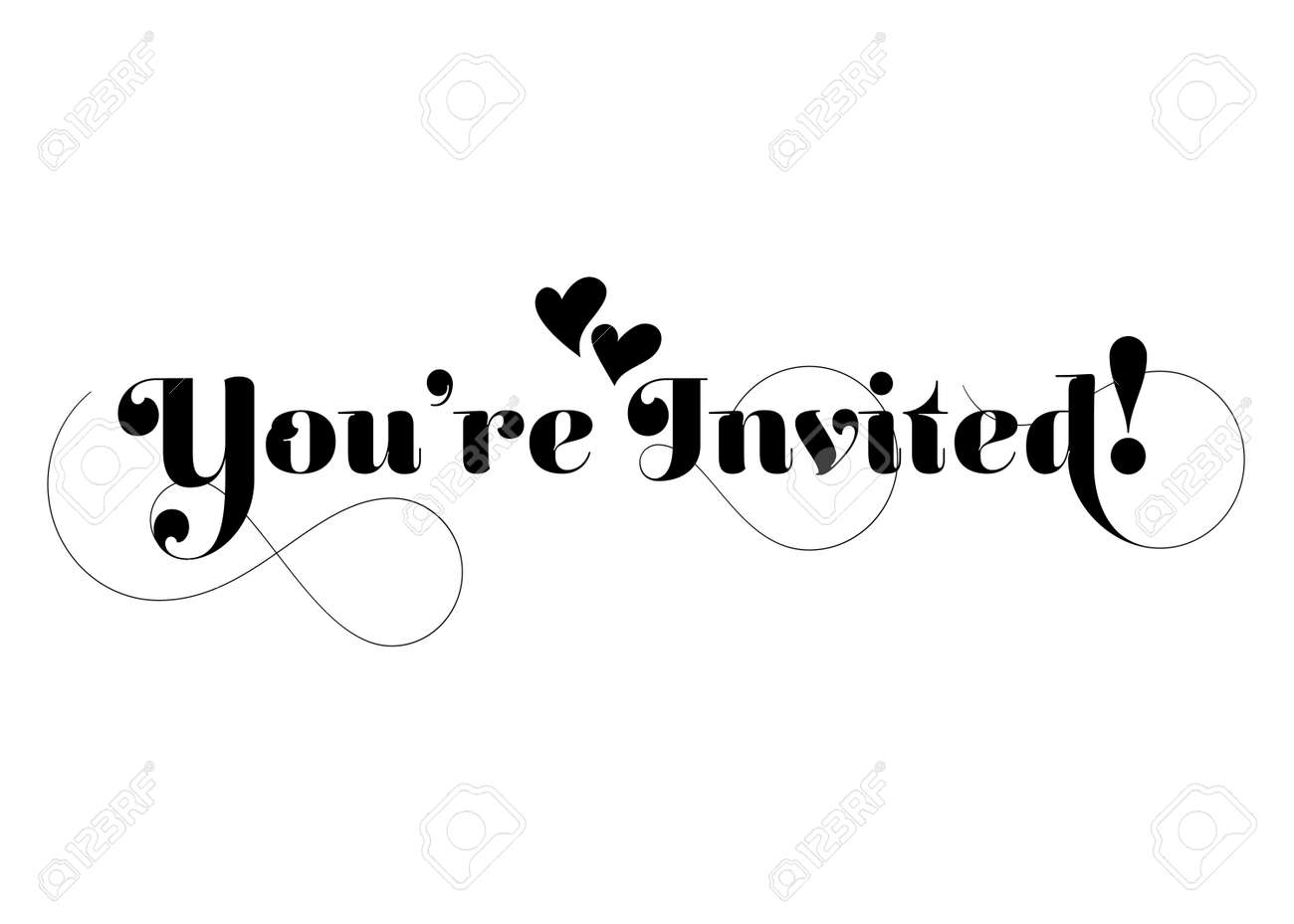 You re Invited! Vector Handmade Calligraphy With Twirl And Two ...