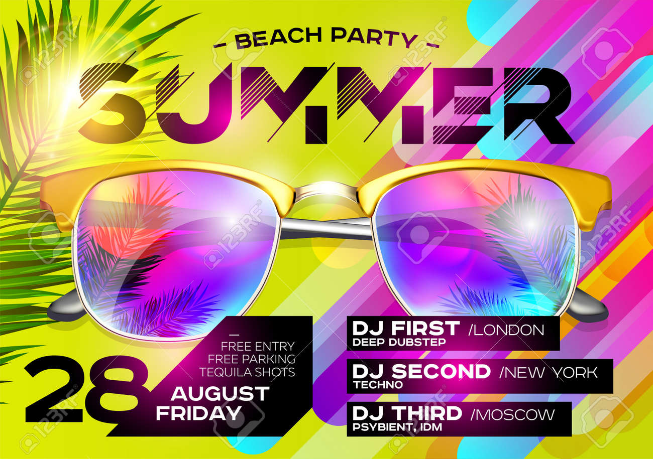 Beach Party Poster For Music Festival. Electronic Music Cover For Summer  Fest Or DJ Party