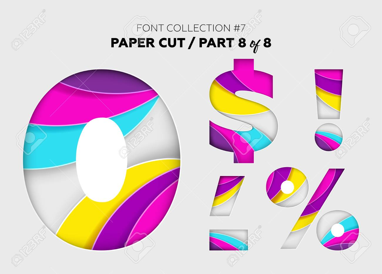 3d geometry font with paper origami effect letters | 931x1300