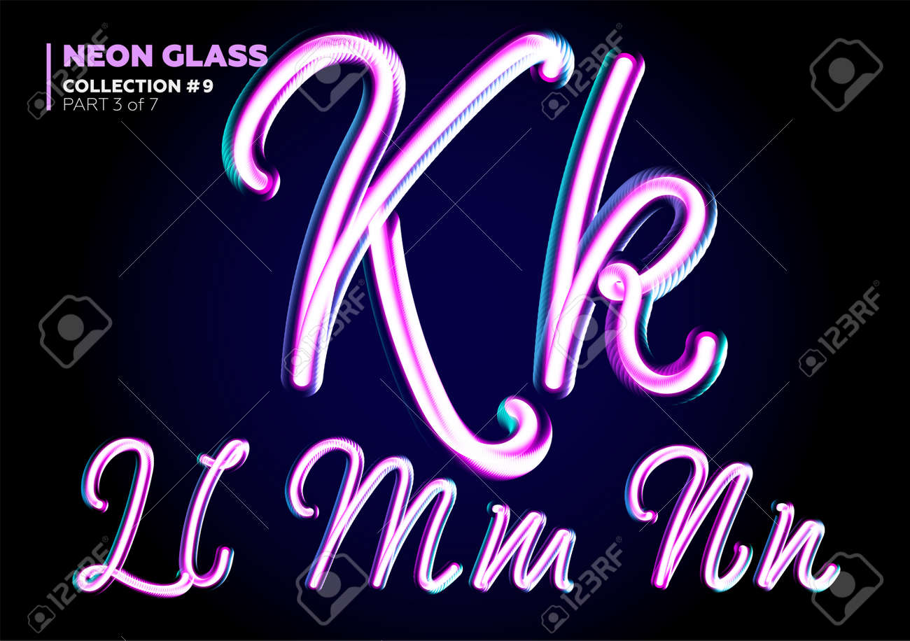 neon glowing 3d typeset font set of glass letters glossy pink and blue colors